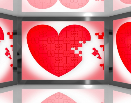 Puzzle Heart On Screen Showing Romantic Movies And Soap Operas photo