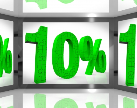 10% On Screen Showing Sellouts And Bonuses Stock Photo - 16924258