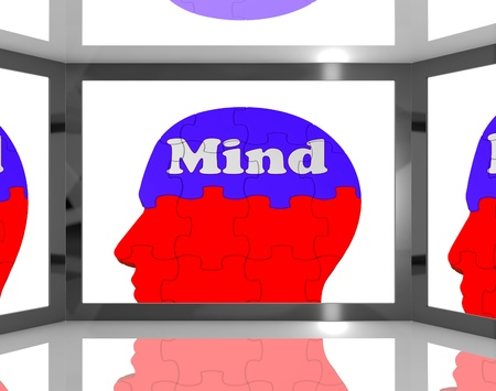 capacities: Mind On Brain On Screen Showing Human Capacities And Thoughts
