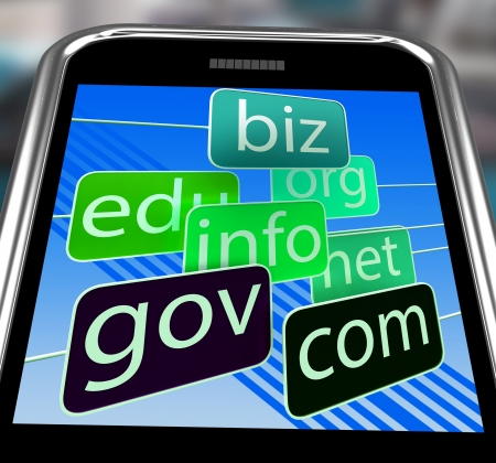 domains: Domains On Smartphone Shows Mobile Internet Access And Online Information