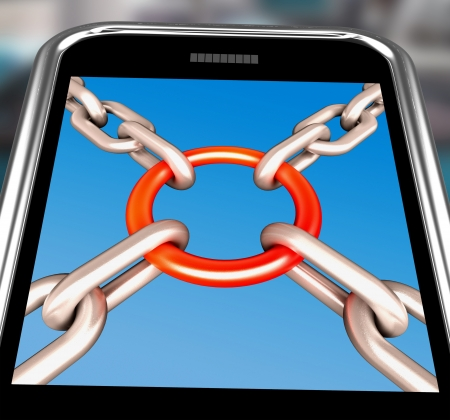 Chains Joint On Smartphone Showing Security Unity And Strong Connection Stock Photo - 16936660