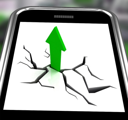increased: Arrow Going Up On Smartphone Showing Increased Sales And Sudden Growth Stock Photo