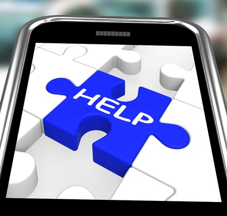 Help On Smartphone Showing Assistance Messages And Counseling Stock Photo - 16936523