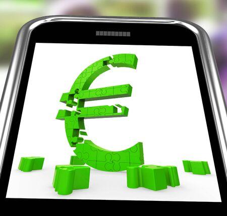 Euro Symbol On Smartphone Shows European Money And Finances Stock Photo - 16936512