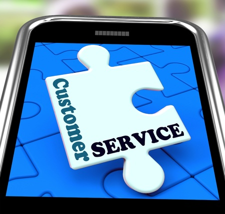 inquiries: Customer Service On Smartphone Showing Online Support Or Technical Helpdesk Stock Photo