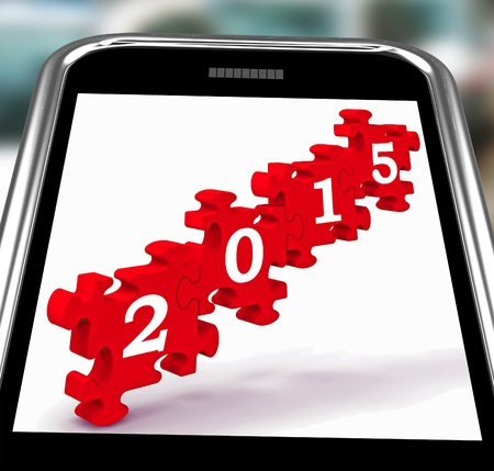 festivities: 2015 On Smartphone Showing Future Celebrations And Festivities