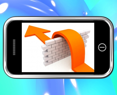 conquer: Arrow Jumping Wall On Smartphone Showing Conquer Or Overcome Obstacles