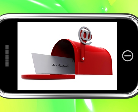 Mailbox On Smartphone Showing Email Inbox And Online Correspondence photo