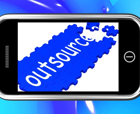 subcontractors: Outsource On Smartphone Showing Freelance Workers And Subcontractors Stock Photo