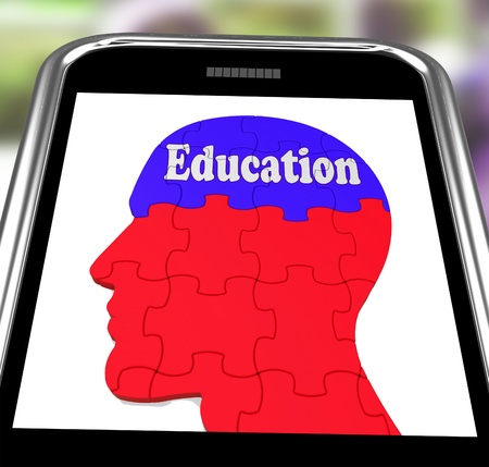 Education On Brain On Smartphone Showing Human Wisdom And Teaching Stock Photo - 16936537