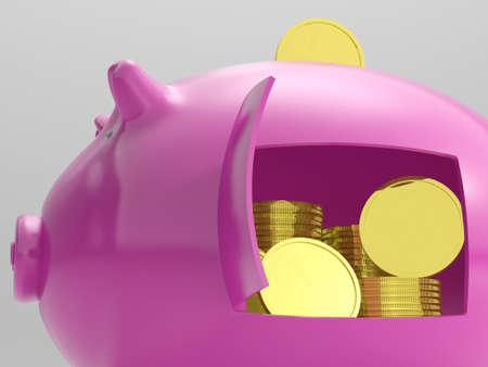 Coins In Piggy Showing Savings And Investment Stock Photo - 18040158