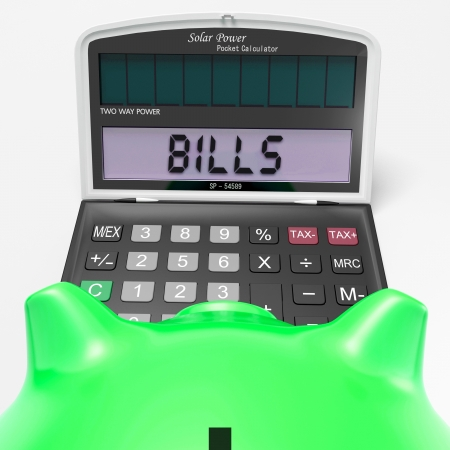 payable: Bills Calculator Showing Invoices Payable And Accounting Stock Photo