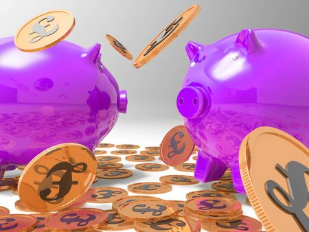 richness: Raining Coins On Piggybanks Shows Richness And Wealth Stock Photo