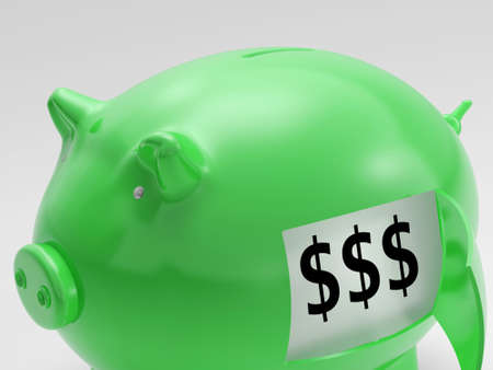 Dollars In Piggy Showing Wealth And Success Stock Photo - 18040154