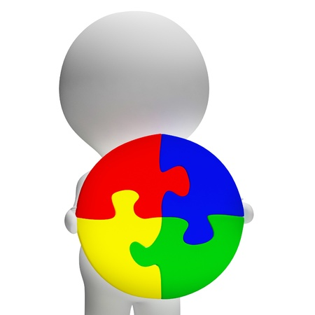 wholeness: Jigsaw Solution And 3d Character Shows Solution Or Wholeness