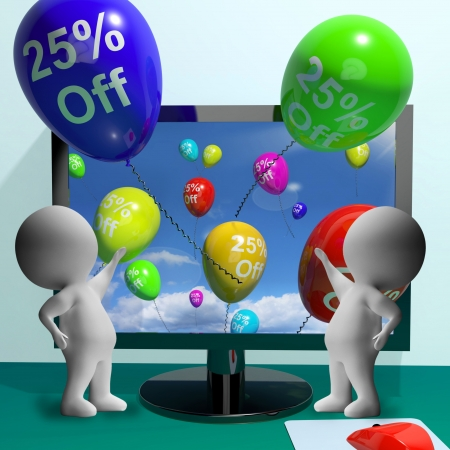 Balloons From Computer Show Sale Discount Of Twenty Five Percent photo