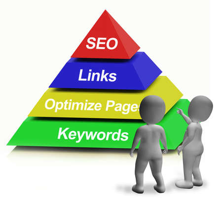 keywords link: SEO Pyramid Shows The Use Of Keywords Links And Optimizing Stock Photo