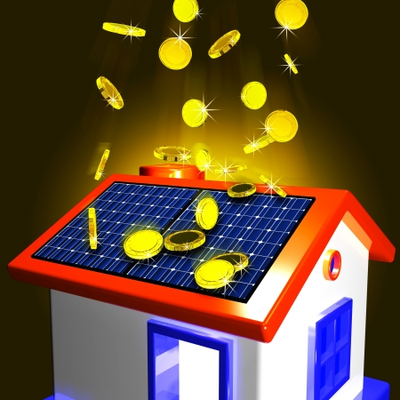 Coins Falling On House Showing Extra Money And Improved Economy photo