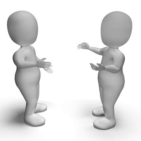 comunicar: Conversación entre dos personajes en 3D muestra la comunicación Foto de archivo