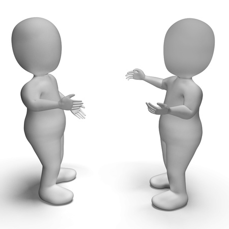 explaining: Conversation Between Two 3d Characters Shows Communication  Stock Photo