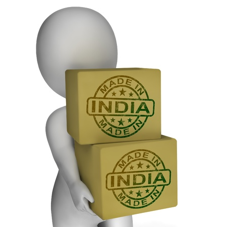 Made In India Stamp On Boxes Showing Indian Products photo