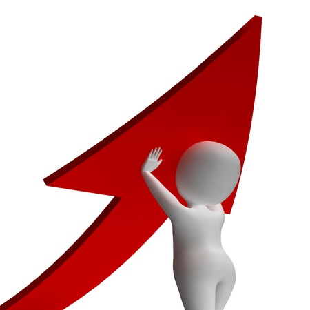Man Holding Up Arrow Showing Improvement Or Growth Stock Photo - 18039317