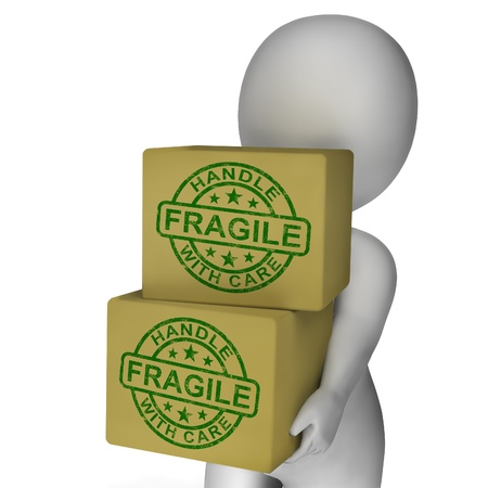 breakable: Fragile Stamp On Boxes Shows Breakable Or Delicate Products
