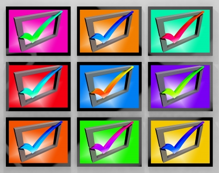 Check Marks On Monitors Showing Approved And Client  Stock Photo - 18040125