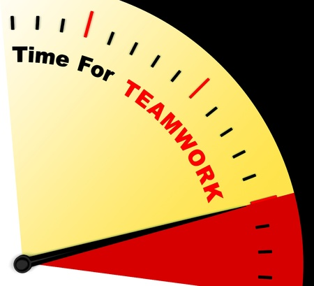 combined effort: Time For Teamwork Message Representing Combined Effort And Cooperation Stock Photo