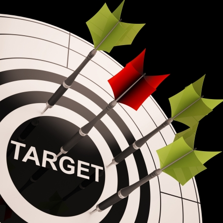 Target On Dartboard Shows Perfect Aiming Or Business Goals Stock Photo