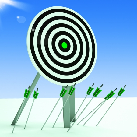 imprecise: Arrows On Floor Showing Poor Accuracy And Ineffective Aiming Stock Photo