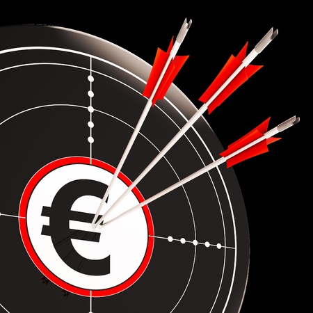 Euro Target Shows Savings Investment And Security In Europe Stock Photo - 18039781