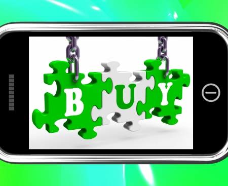 consumerism: Buy On Smartphone Showing Consumerism And Ecommerce
