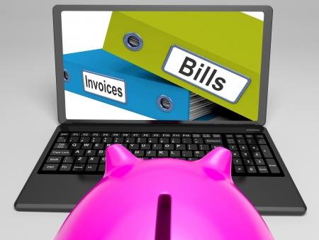 accounts payable: Bills And Invoices Files On Laptop Shows Finances Or Payments