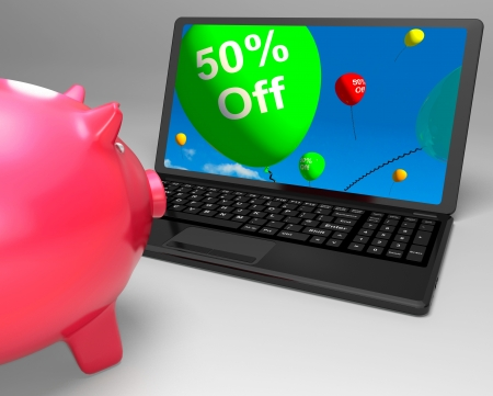 Fifty Percent Off On Laptop Showing Cheap Products And Sales Stock Photo - 18040155