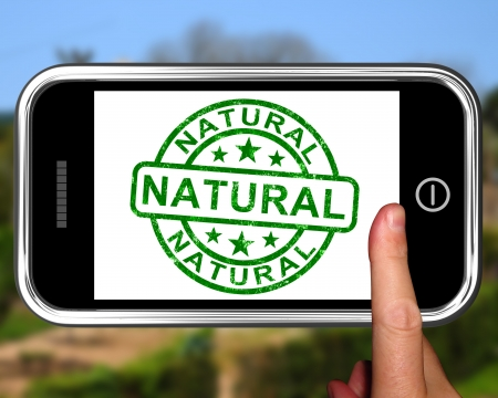 untreated: Natural On Smartphone Showing Untreated Products Or Organic Materials