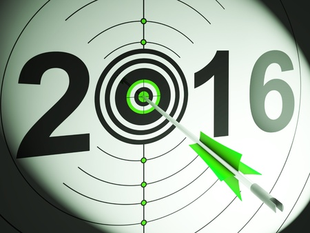 planned: 2016 Projection Target Showing Profit And Growth Planned Stock Photo
