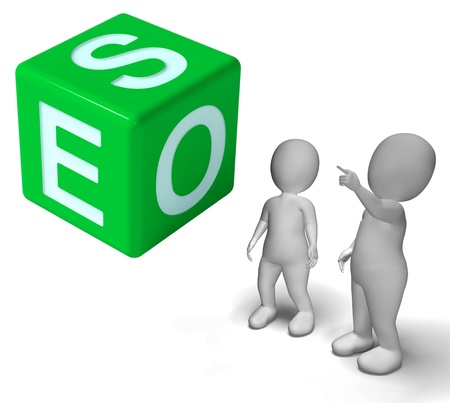 the optimizer: Seo Dice Representing Internet Optimization And Promotion Stock Photo
