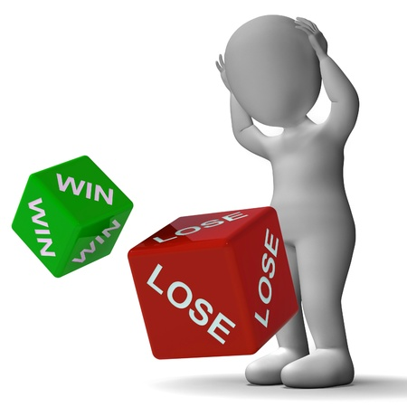 payoff: Win Lose Dice Showing Gambling And Payoff