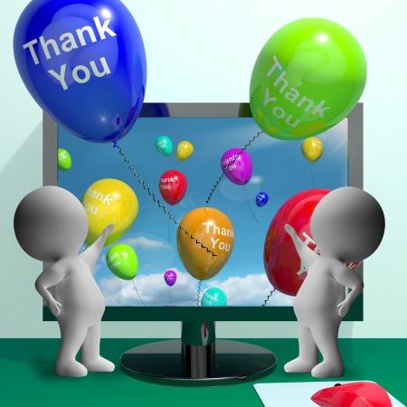 agradecimiento: Gracias Globos Del ordenador en forma de mensajes en línea, gracias Foto de archivo