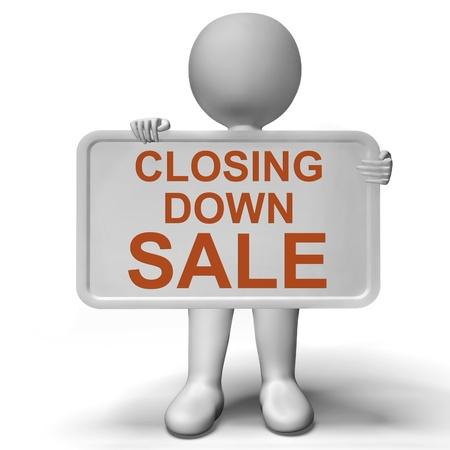 shut down: Closing Down Sale Sign Shows Store Bankrupt