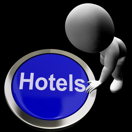 accomodation: Blue Hotel Button For Travel And A Room Stock Photo