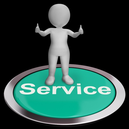 Service Button Means Help Support And Assistance