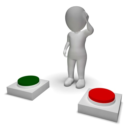 indecision: Choice Of Pushing Buttons 3d Character Showing Indecision