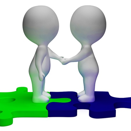 Shaking Hands 3d Characters Showing Partners And Solidarity photo
