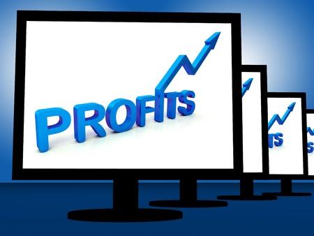 rentable: Las ganancias en los monitores muestran los ingresos y las ganancias rentables