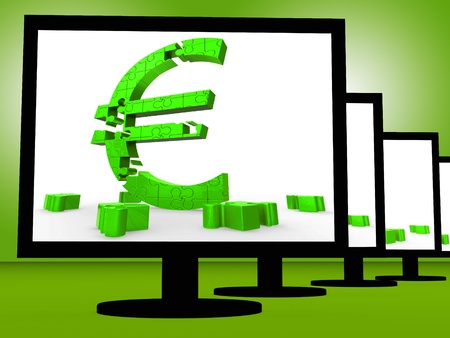 Euro Symbol On Monitors Shows European Savings And Investments Stock Photo - 18271224