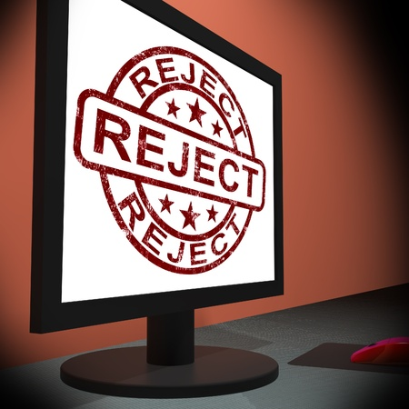 disallowed: Reject On Monitor Shows Disallowed And Rejected Stock Photo