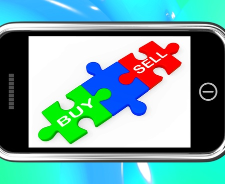 importer: Buy And Sell Puzzles On Smartphone Shows Commerce And Commercial Transactions Stock Photo