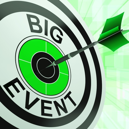 festivities: Big Event Target Showing Upcoming Occasion, Event Or Festivities
